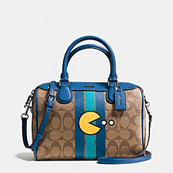 MINI BENNETT SATCHEL IN SIGNATURE PAC MAN PRINT COATED CANVAS - f56648 - BLACK ANTIQUE/KHAKI DENIM