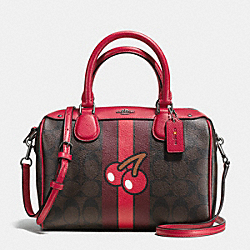 COACH F56650 Mini Bennett Satchel In Signature Pac Man Cherry Print Coated Canvas IMITATION GOLD/BROWN TRUE RED