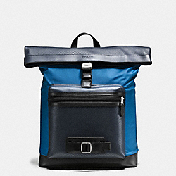 COACH F56662 - TERRAIN EXPLORER PACK IN PERFORATED MIXED MATERIALS MIDNIGHT NAVY/DENIM