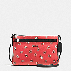 EAST/WEST CROSSBODY WITH POP UP POUCH IN SIENNA ROSE PRINT COATED CANVAS - f56680 - SILVER/WATERMELON