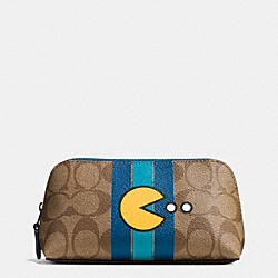 COACH F56714 Pac Man Cosmetic Case 17 In Signature BLACK ANTIQUE/KHAKI DENIM