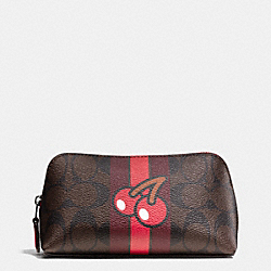 COACH F56714 Pac Man Cosmetic Case 17 In Signature IMITATION GOLD/BROWN TRUE RED
