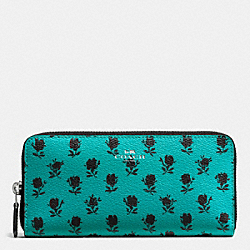 SLIM ACCORDION ZIP IN BADLANDS FLORAL PRINT CANVAS - f56716 - SILVER/TURQUOISE BLACK
