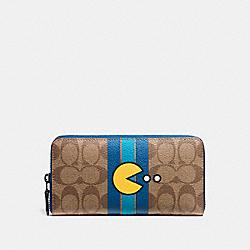 COACH F56718 Pac Man Accordion Zip Wallet In Signature BLACK ANTIQUE/KHAKI DENIM