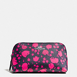 COSMETIC CASE 17 IN PRAIRIE CALICO FLORAL PRINT CANVAS - f56726 - SILVER/MIDNIGHT PINK RUBY