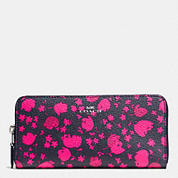 COACH F56733 Slim Accordion Zip In Prairie Calico Floral Print Canvas SILVER/MIDNIGHT PINK RUBY