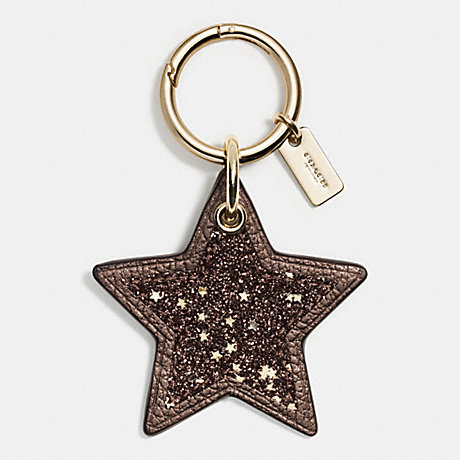 Coach F56735 Glitter Leather Star Bag Charm Gold Bronze