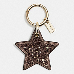 COACH F56735 Glitter Leather Star Bag Charm GOLD/BRONZE