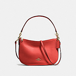 CHELSEA CROSSBODY - f56819 - DEEP CORAL/LIGHT GOLD