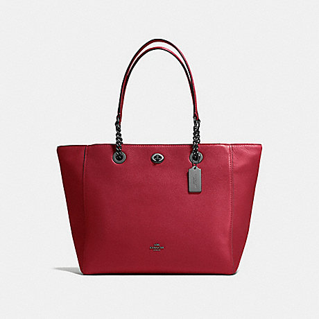 COACH f56830 TURNLOCK CHAIN TOTE Cherry/Dark Gunmetal