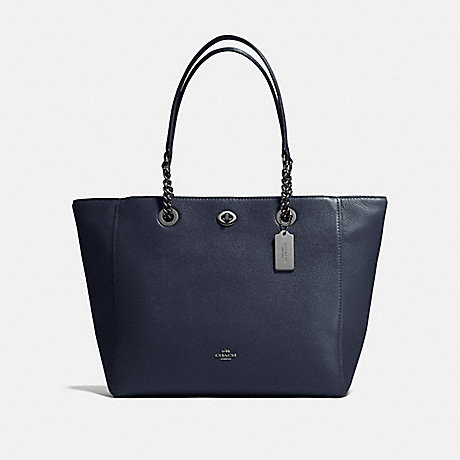 COACH f56830 TURNLOCK CHAIN TOTE NAVY/DARK GUNMETAL