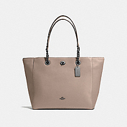 COACH F56830 Turnlock Chain Tote DARK GUNMETAL/STONE