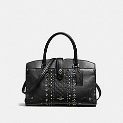 COACH F56832 - MERCER SATCHEL 30 IN PEBBLE LEATHER WITH BANDANA RIVETS DARK GUNMETAL/BLACK
