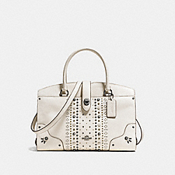 MERCER SATCHEL 30 WITH BANDANA RIVETS - f56832 - CHALK/DARK GUNMETAL
