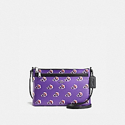 COACH F56837 East/west Crossbody With Pop Up Pouch In Bramble Rose Print Canvas SILVER/PURPLE