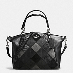 SMALL KELSEY SATCHEL IN METALLIC PATCHWORK LEATHER - f56848 - SILVER/BLACK/GUNMETAL