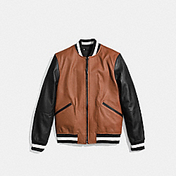 COACH LEATHER VARSITY JACKET - DARK SADDLE/BLACK - F56869