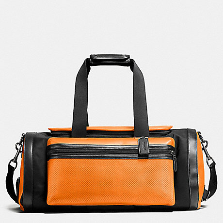 Coach F56875 Terrain Gym Bag In Perforated Mixed Materials Orange Graphite
