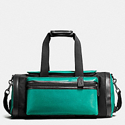COACH F56875 Terrain Gym Bag In Perforated Mixed Materials SEAGREEN/BLACK