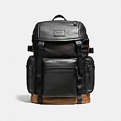 COACH F56876 Terrain Trek Pack 42 In Tech Nylon BLACK/DARK SADDLE
