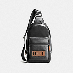 COACH F56877 Terrain Pack In Perforated Mixed Materials BLACK/DARK SADDLE