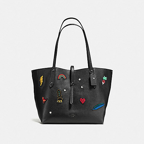 COACH f57077 MARKET TOTE WITH SOUVENIR EMBROIDERY BLACK/DARK GUNMETAL