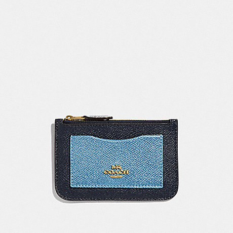 COACH F57091 ZIP TOP CARD CASE IN COLORBLOCK MIDNIGHT MULTI/IMITATION GOLD
