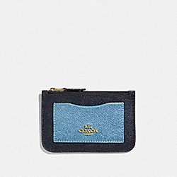 COACH F57091 - ZIP TOP CARD CASE IN COLORBLOCK MIDNIGHT MULTI/IMITATION GOLD
