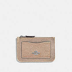 COACH F57091 Zip Top Card Case In Colorblock CHALK MULTI/SILVER