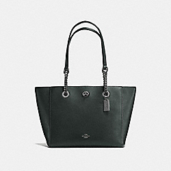 COACH F57107 - TURNLOCK CHAIN TOTE 27 IVY/DARK GUNMETAL