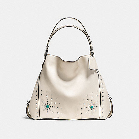 COACH f57110 EDIE SHOULDER BAG 42 WITH WESTERN RIVETS SILVER/CHALK