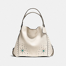 EDIE SHOULDER BAG 42 WITH WESTERN RIVETS - f57110 - SILVER/CHALK