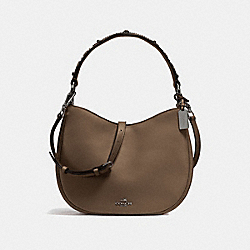 MAE CROSSBODY WITH WESTERN RIVETS - F57119 - FATIGUE/DARK GUNMETAL