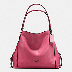 COACH EDIE SHOULDER BAG 31 IN POLISHED PEBBLE LEATHER - DARK GUNMETAL/ROUGE - F57125