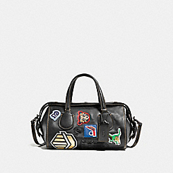 COACH F57129 - BADLANDS SATCHEL WITH VARSITY PATCH BLACK/BLACK COPPER