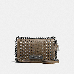 COACH SWAGGER SHOULDER BAG IN PEBBLE LEATHER WITH OMBRE RIVETS - f57139 - DARK GUNMETAL/FATIGUE