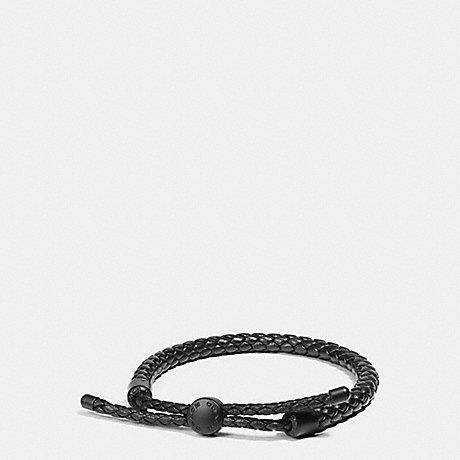 COACH BRAIDED LEATHER ADJUSTABLE BRACELET - MATTE BLACK/BLACK - f57147