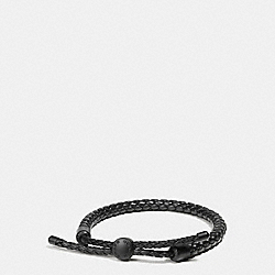COACH F57147 Braided Leather Adjustable Bracelet MATTE BLACK/BLACK
