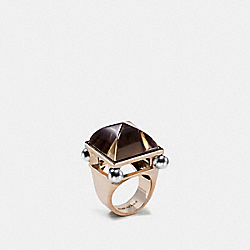 COACH F57190 Pearl Pyramid Ring GOLD/GRAY