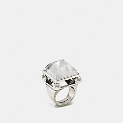 COACH F57190 Pearl Pyramid Ring SILVER/CHALK