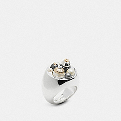 PEARL DAISY RIVET VARSITY RING - f57191 - GOLD/BLACK/WHITE
