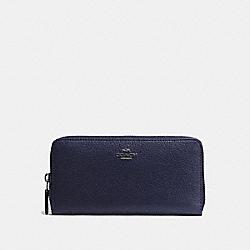COACH F57215 Accordion Zip Wallet In Pebble Leather ANTIQUE NICKEL/MIDNIGHT