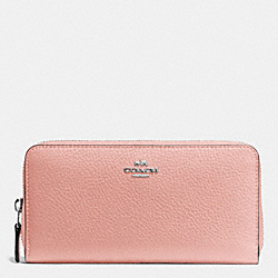 COACH F57215 - ACCORDION ZIP WALLET IN PEBBLE LEATHER SILVER/BLUSH