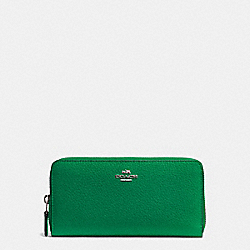 COACH F57215 Accordion Zip Wallet In Pebble Leather SILVER/JADE