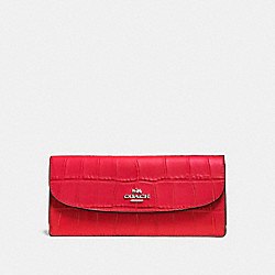 COACH F57217 Soft Wallet In Croc Embossed Leather SILVER/BRIGHT RED