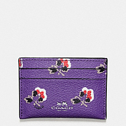 COACH F57225 Flat Card Case In Bramble Rose Print Canvas SILVER/PURPLE