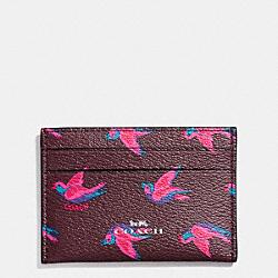 COACH F57227 Flat Card Case In Happy Bird Print Canvas SILVER/BURGUNDY OXBLOOD 1