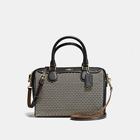 COACH f57242 MINI BENNETT SATCHEL IN LEGACY JACQUARD LIGHT GOLD/MILK