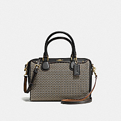 MINI BENNETT SATCHEL IN EXPLODED REPS PRINT JACQUARD - f57242 - IMITATION GOLD/MILK/BLACK