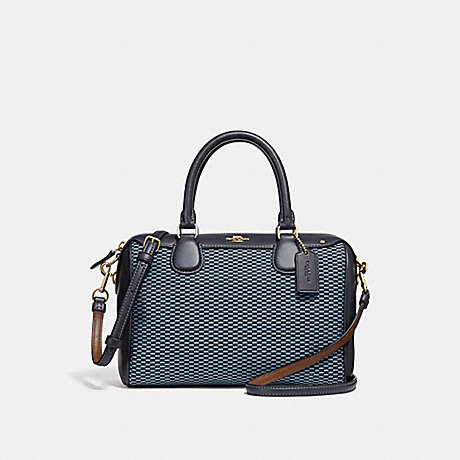 COACH f57242 MINI BENNETT SATCHEL BLUE/MULTI/LIGHT GOLD